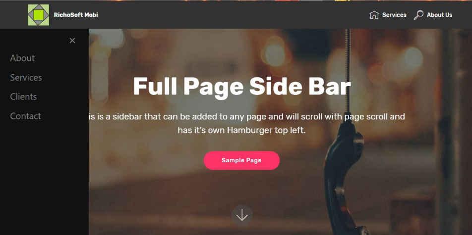 Side Bar for Mobirise