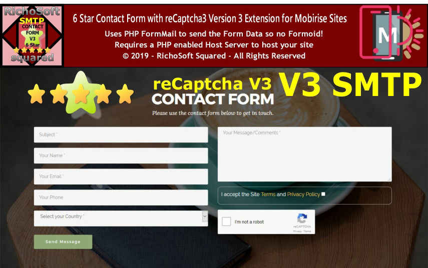 Contact Form for Mobirise with reCaptcha3