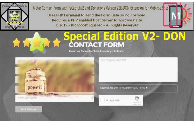 Amazing Contact Form for Mobirise with reCaptcha2 SE